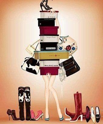 Desenho de uma moça segurando inúmeras caixas de sapatos.