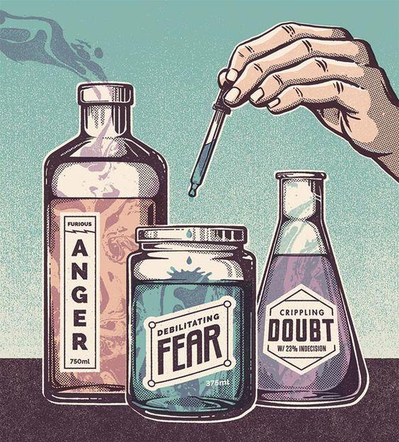 Três frascos para fazer misturas de substâncias que dariam angústia no peito