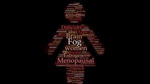 Nuvem de palavras no formato do símbolo de mulher composto por palavras como fog, women, estrogen, menopausal etc.