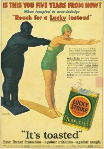 Cartaz com propaganda que certamente colaborou com o fato de que para  mulher +50 fumar emagrece,.