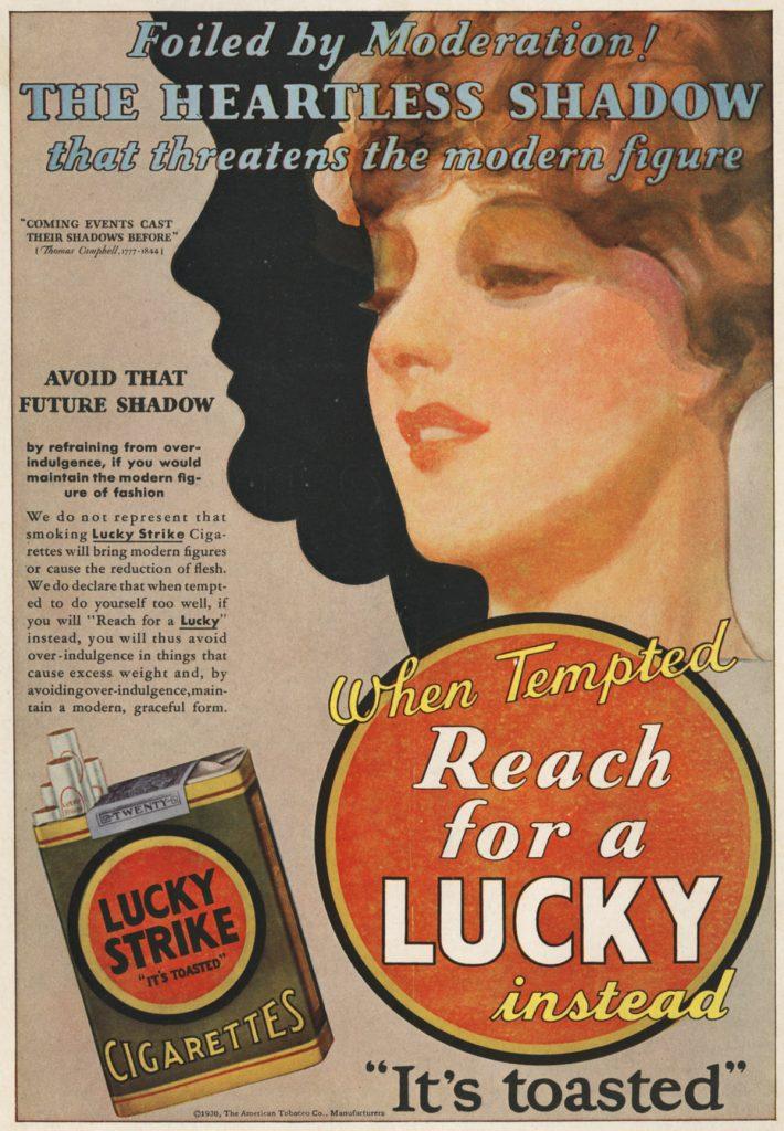 Propaganda dos cigarros de décadas atrás.