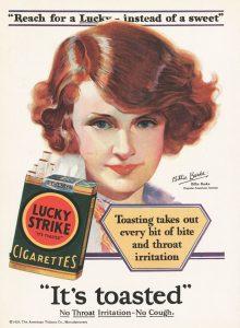 Propaganda de cigarros do século passado.
